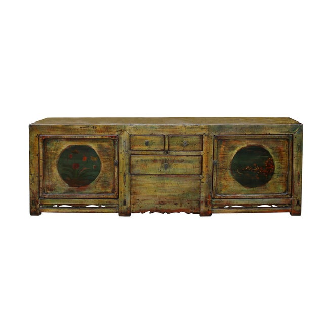 Chinese Distressed Green Brown Oriental Flower Graphic Tv Console Cabinet For Sale - Image 10 of 10