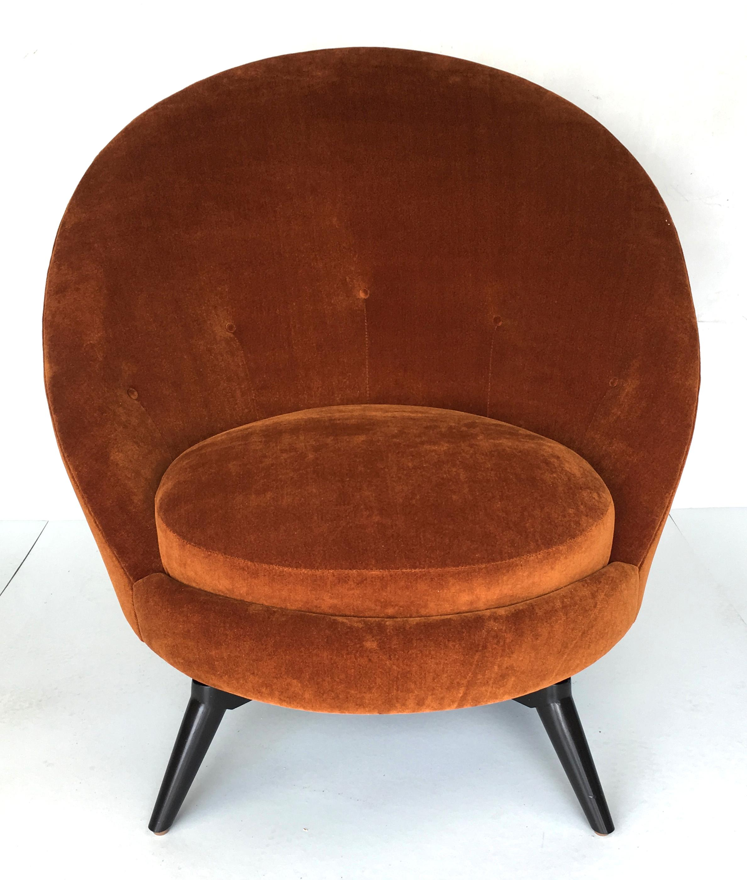 Orange Pair Of Royère Style Swivel Egg Chairs For Sale   Image 8 Of 8