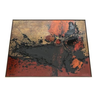 French Artist Philippe Cheverny Lacquer Panel Circa 1970 For Sale