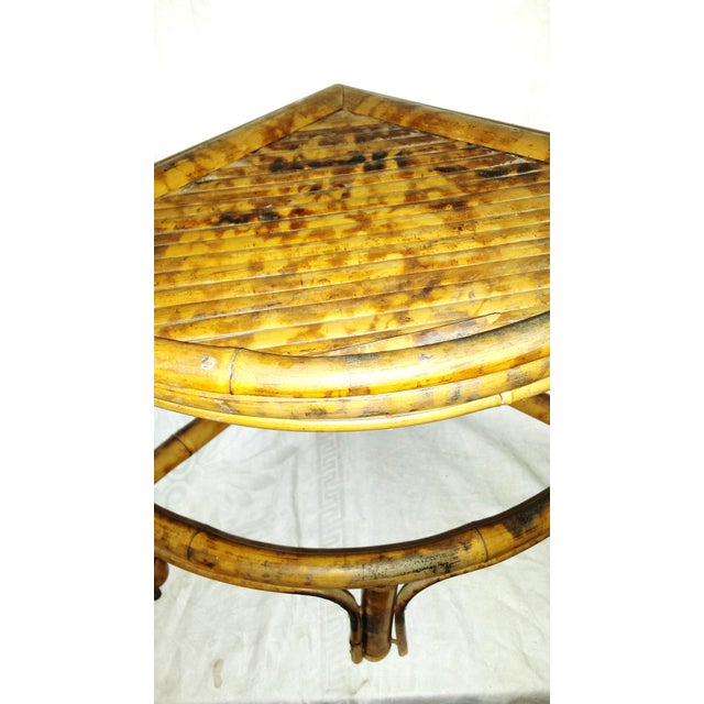 Asian Vintage Scorched Bamboo Corner Shelf For Sale - Image 3 of 8