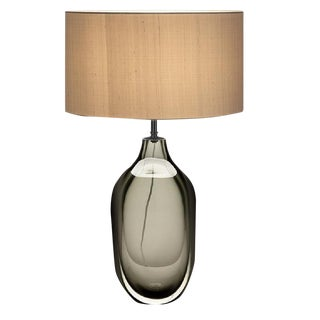 Vento Glass Lamp With Black Bronze Metal Work and Silk Shade For Sale