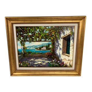 William Rengifo Village on Hillside with Boats Oil Painting For Sale