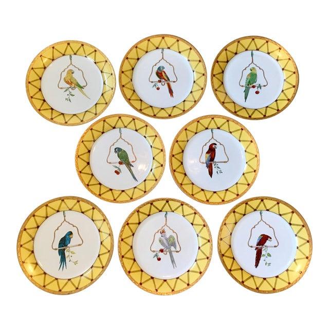 Chelsea House Decorative Tropical Bird Parrot Plates - Set of 8 For Sale