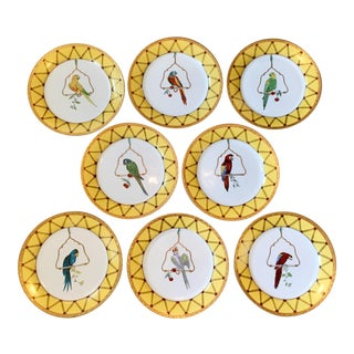 Reserved for Clara - Chelsea House Decorative Tropical Bird Parrot Plates - Set of 8 For Sale