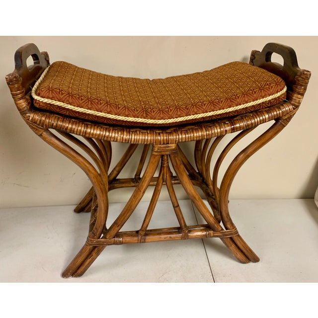 Surprising Pair Of Rattan Palecek Stools Benches Theyellowbook Wood Chair Design Ideas Theyellowbookinfo
