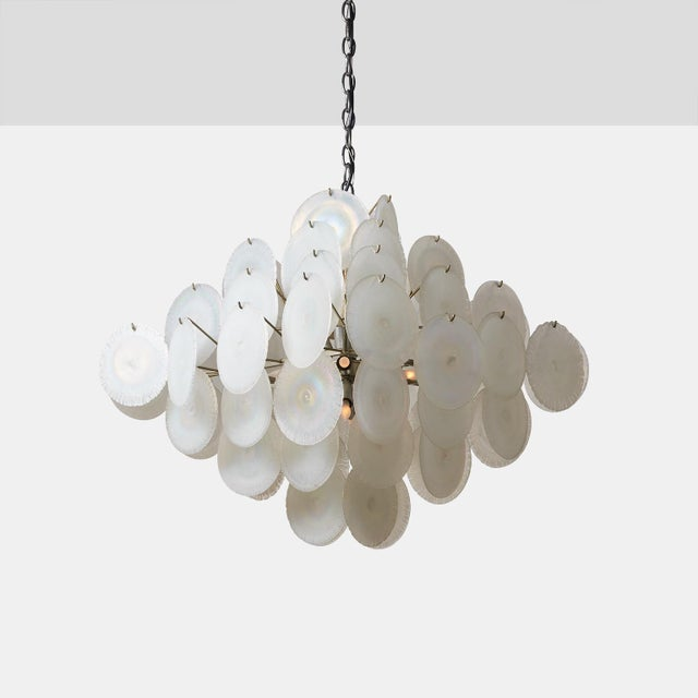 Glass Vistosi Chandelier with Iridescent Murano Glass Discs For Sale - Image 7 of 7