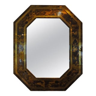 1960s French Bronze Octagonal Tortoise Shell Pattern Mirror Attributed to Maison Jansen For Sale