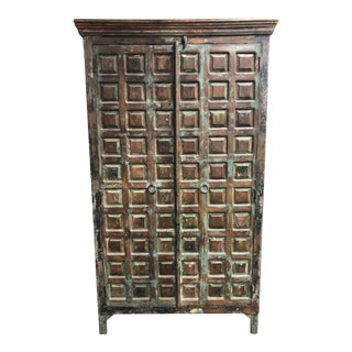 Distressed Custom Salvaged + Hand Carved Indian Wood Armoire For Sale