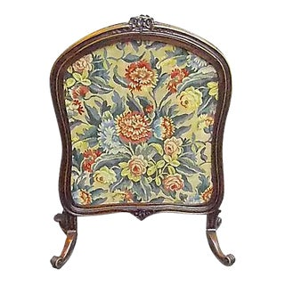Antique Floral Tapestry/Carved Wood Fire Screen
