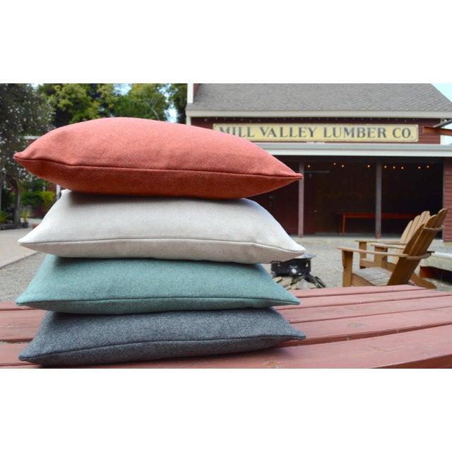 Contemporary FirmaMenta Italian Orange Sustainable Wool Lumbar Pillow For Sale - Image 3 of 5