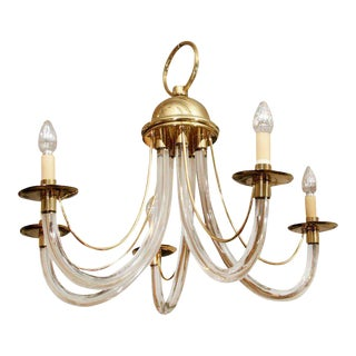 Charles Hollis Jones Style Lucite & Brass Chandelier For Sale