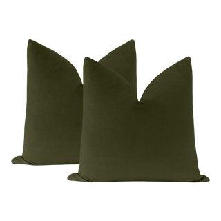 """22"""" Olive Velvet Pillows - a Pair For Sale"""