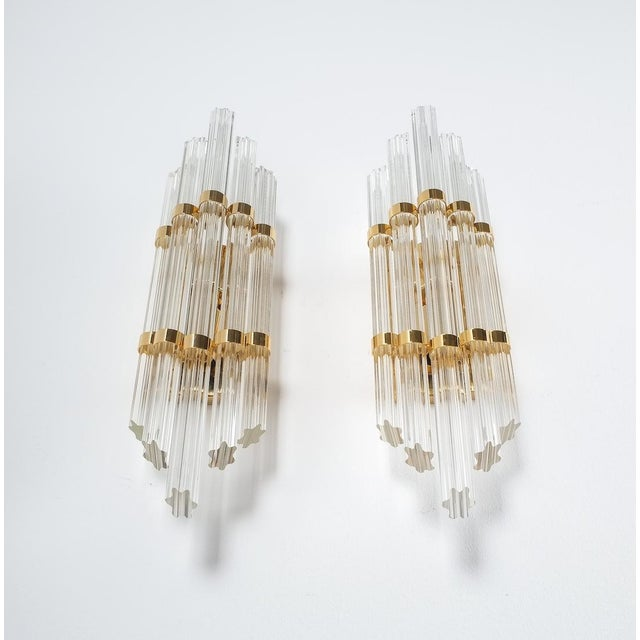 Murano, Venini & Co. Large Venini Style Murano Glass and Brass Wall Lamps Sconces, 1970 For Sale - Image 4 of 8