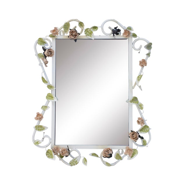 "White Italian Tole Mirror With Pale Pink Roses, 19"" X 24"" For Sale - Image 8 of 8"