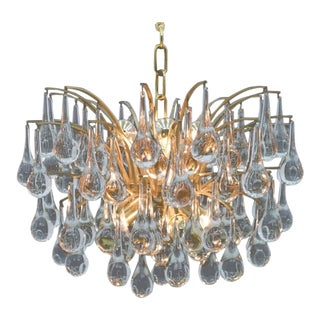 Christoph Palme Glass Drop Gold Chandelier Waterfall Palwa, Germany, 1970s For Sale
