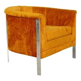 Mid Century Modern Curved Flat Bar Chrome Barrel Armchair Baughman Style 1970s For Sale
