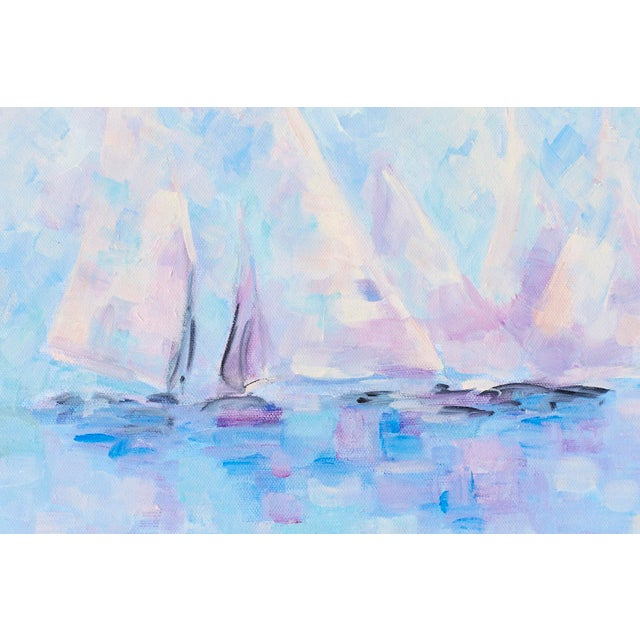 Midcentury Oil on Canvas Painting of Sailboats For Sale - Image 4 of 13