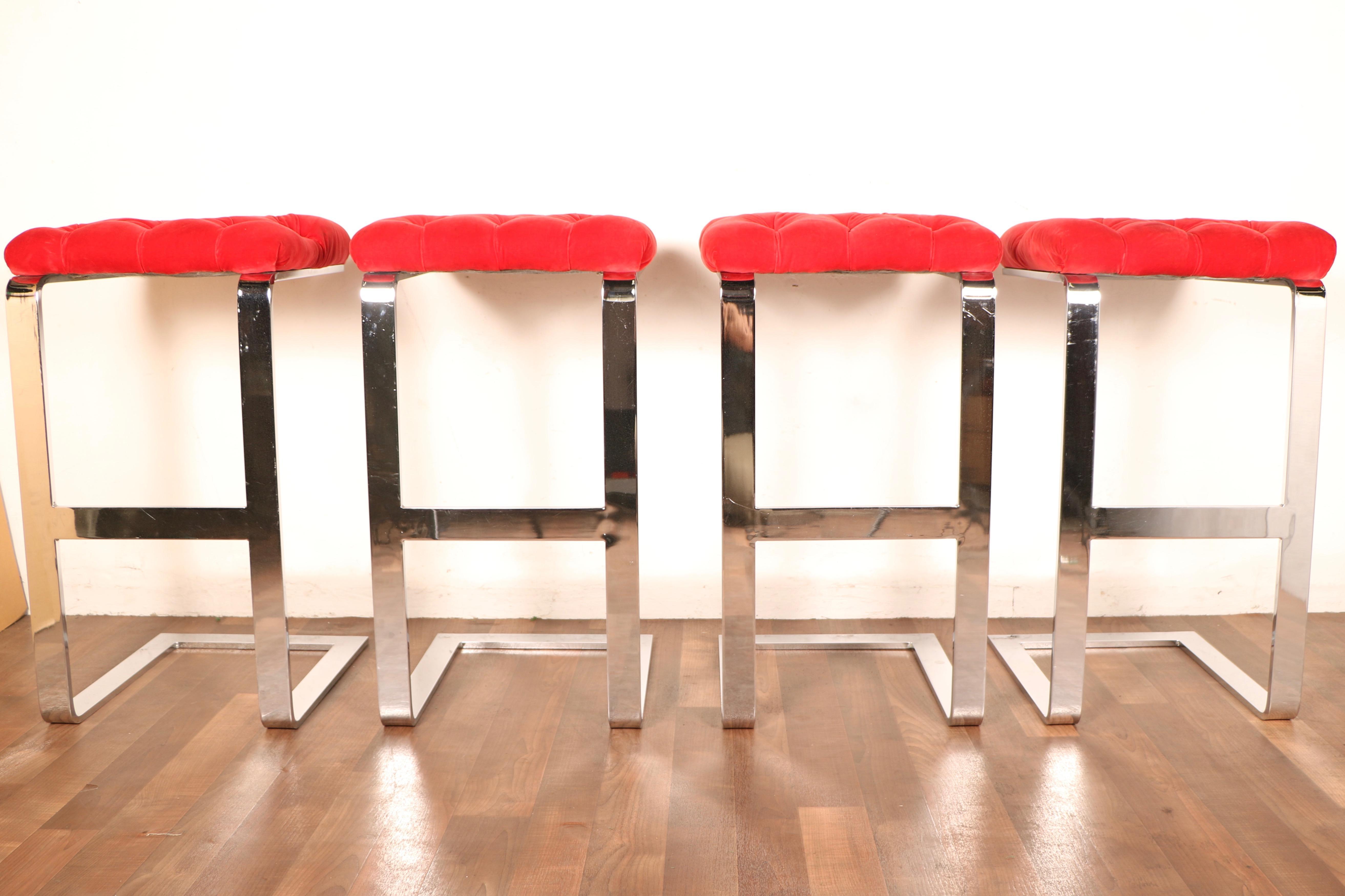 1970s chrome & red velvet bar stools- set of 4 | chairish 1970s Bar Stools
