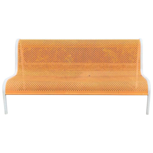 Miami Modern Wrought Iron Sculptural Long Bench For Sale