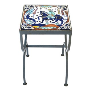 Tile Top Side or Drinks Table Indoors or Patio in the Style of Hermes For Sale