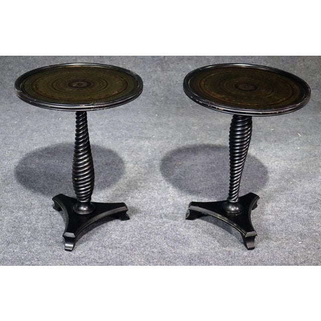 Wood Regency Style Carved Mahogany Glass Top End Tables - a Pair For Sale - Image 7 of 7