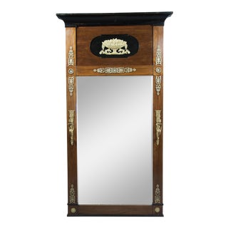 Biedermeier Mahogany, Ebonized and Bronze-Mounted Pier Mirror For Sale