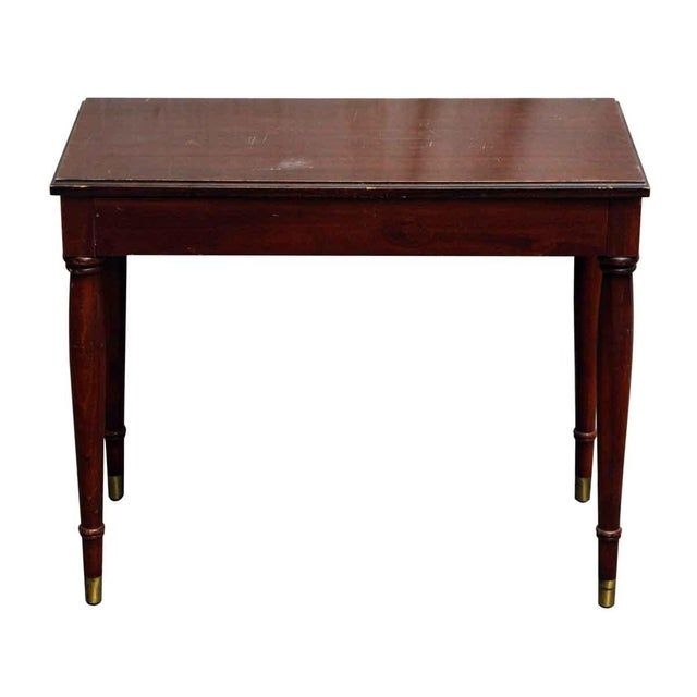 The console hall table has a top that opens for storage. There is some wear in the wood from age and use. Dimensions Open...