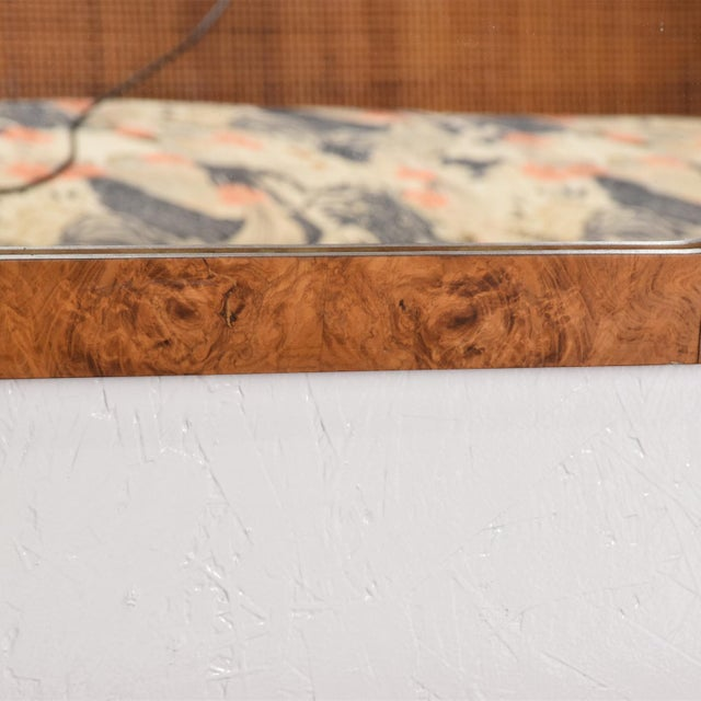 Mid-Century Modern Wall Mirror in Burl Wood For Sale - Image 4 of 11
