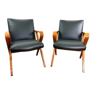 Pair of Mid Century Bentwood Lounge Chairs For Sale