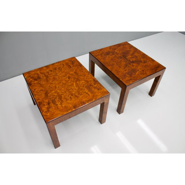 Brown Pair of Burl Wood Side or End Tables 1970s For Sale - Image 8 of 10