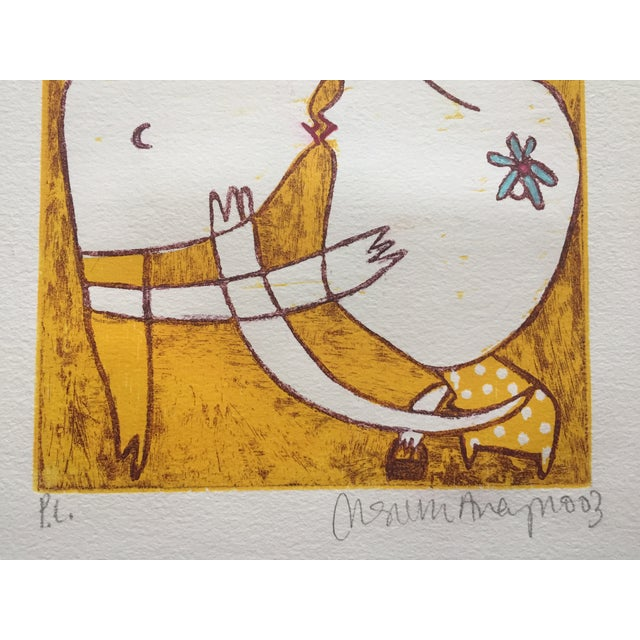 Original Yellow Monoprint by Marina Anaya - Image 8 of 10