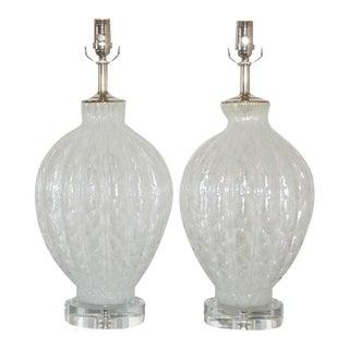 Galliano Ferro Vintage Murano Glass Table Lamps White For Sale