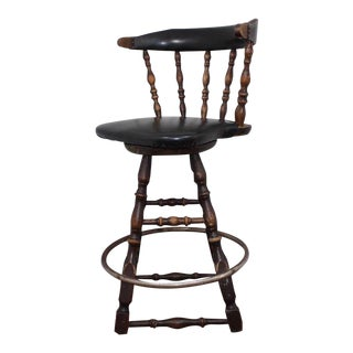1950s Americana Winchendon Wood Leather Swivel Bar Stool Chair For Sale