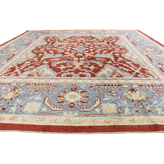 Turkish Oushak Rug With Federal Style