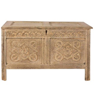 1760 Jacobean Oak Coffer Chest For Sale