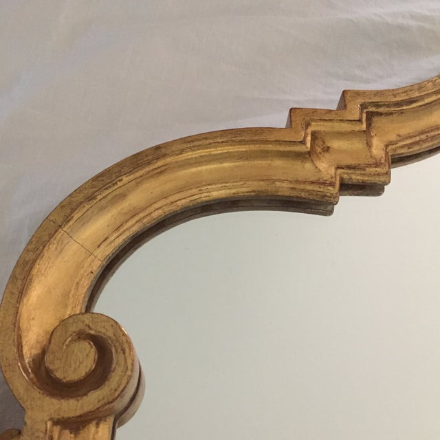 Gold Vintage 1960s Hollywood Regency Mid Century Modern Gilded Mirror W/ Scrolls and Shell Crest, Marked Italy For Sale - Image 8 of 13