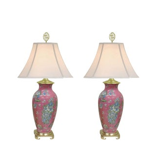 Late 20th Century Vintage Heyward House Ceramic Pink Table Lamps - A Pair For Sale