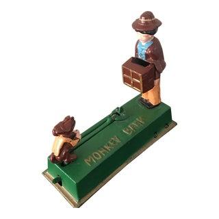 Mechanical Metal Monkey With Organ Grinder Bank