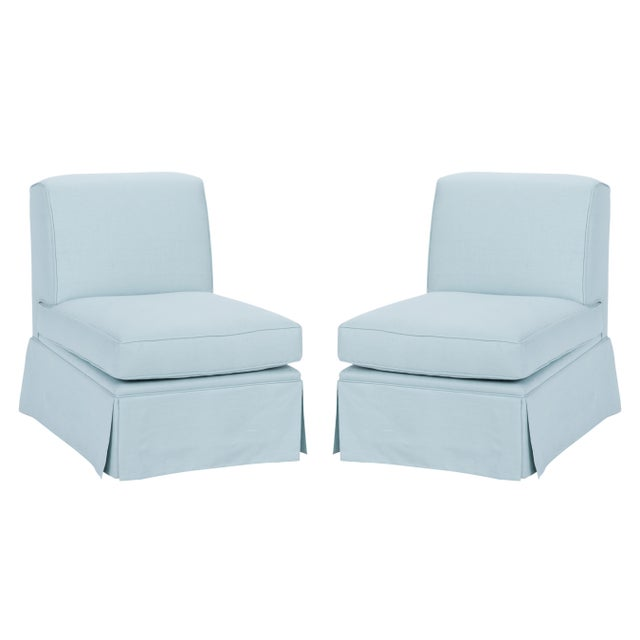 Blue Casa Cosima Skirted Slipper Chair in Porcelain Blue, a Pair For Sale - Image 8 of 8