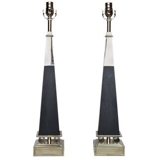 Tommi Parzinger for Stiffel Chrome and Ebonized Wood Obelisk Lamps - a Pair