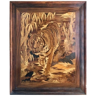 Marquetry Inlaid Wooden Wall Art of Tiger For Sale