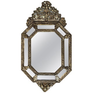 19th Century French Repousse Hexagonal Brass Relief Wall Mirror With Crest For Sale