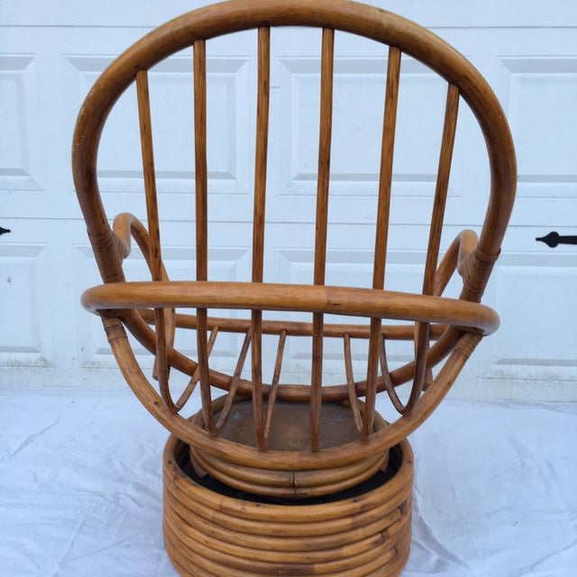 Vintage Bamboo Cocoon Swivel Chair For Sale - Image 6 of 8