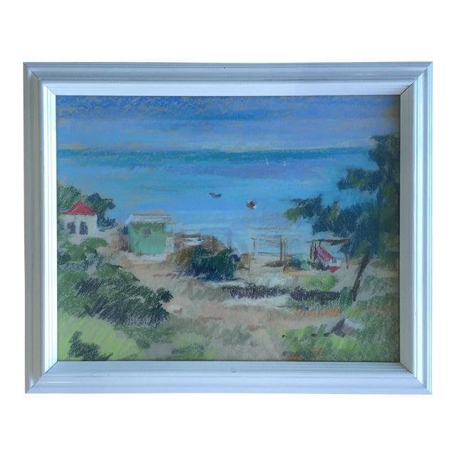 Original Oil Pastel Caribbean Coastal Seascape Framed Art For Sale