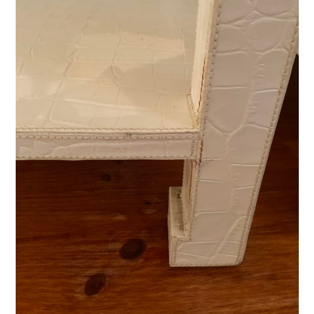 White Asian Jonathan Adler Preston Leather Croc Side End Tables - a Pair For Sale - Image 8 of 10