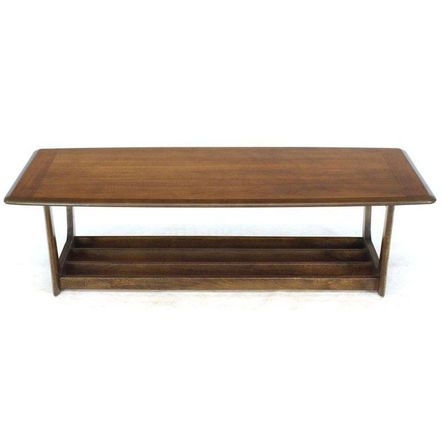 Lane Rounded Rectangle Shape Two-Tier Walnut Coffee Table For Sale - Image 11 of 11