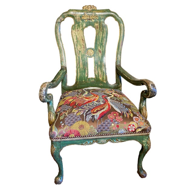 Italian Paint and Gilt Arm Chair For Sale - Image 10 of 10