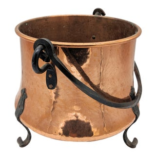 Hammered Copper Footed Cauldron With Cast Iron Handle For Sale