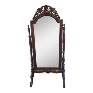 English Walnut Edwardian Cheval Mirror