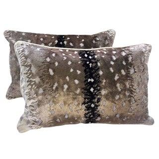 Scalamandre Belgian Antelope Velvet Bolster Pillows, Set of 2 For Sale